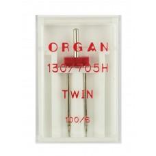 Игла Organ двойная стандарт (TWIN) №100/6 1 шт.