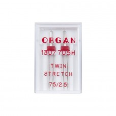 Иглы Organ двойные стретч (TWIN stretch) №75/2.5 2 шт.