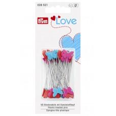 Булавки Prym Love с пластиковыми головками в виде сердечек и бабочек, 50х0,6мм 50 шт