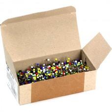 Булавки термостойкие с разноцветными стеклянными головками 30х0,6мм в коробке 100г